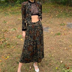Vintage 80's Floral Blazer Maxi Skirt Set Boho